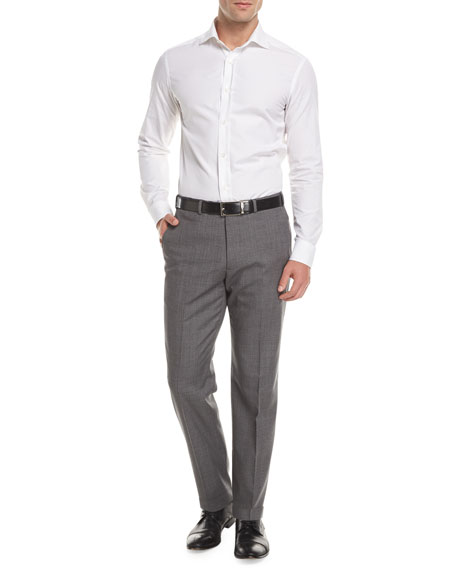 Melange Wool Dress Pants, Gray