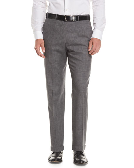 Armani Collezioni Melange Wool Dress Pants, Gray