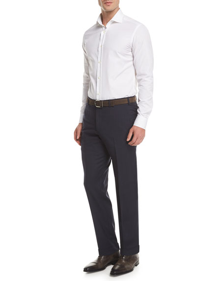 Melange Wool Dress Pants, Navy