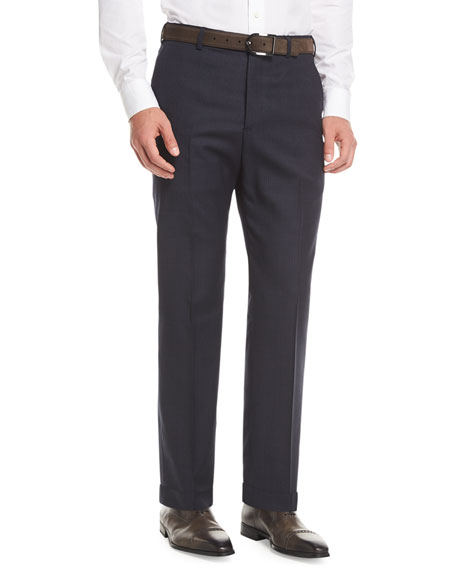 Armani Collezioni Melange Wool Dress Pants, Navy