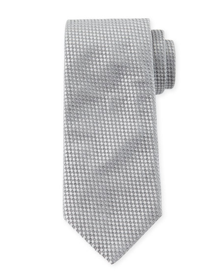 Giorgio Armani Checked Silk Tie, Gray