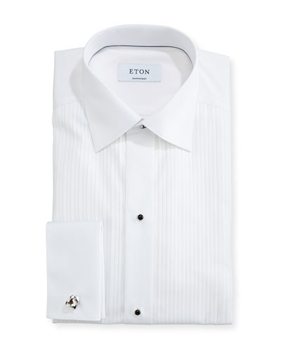 Contemporary-Fit Pleated-Bib Formal Shirt