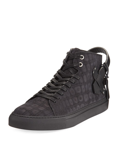 100mm Clean Alligator-Embossed Nubuck Mid-Top Sneaker