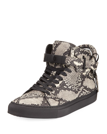Buscemi Men's 100mm Exotic Python-Embossed Leather Mid-Top
