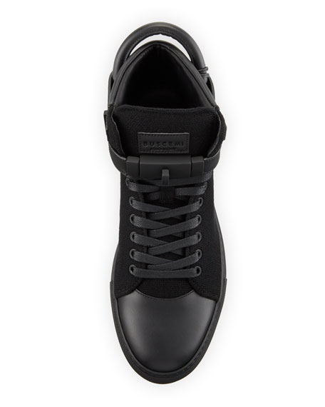 Men's 100mm Wool Mid-Top Sneakers, Black