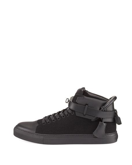 100mm Wool Mid-Top Sneaker, Black