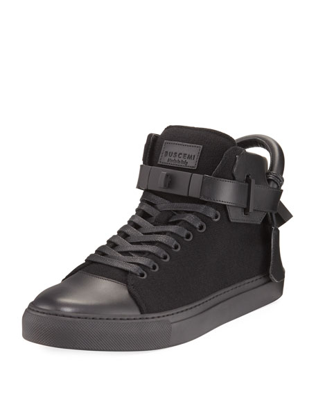Buscemi Men's 100mm Wool Mid-Top Sneakers, Black