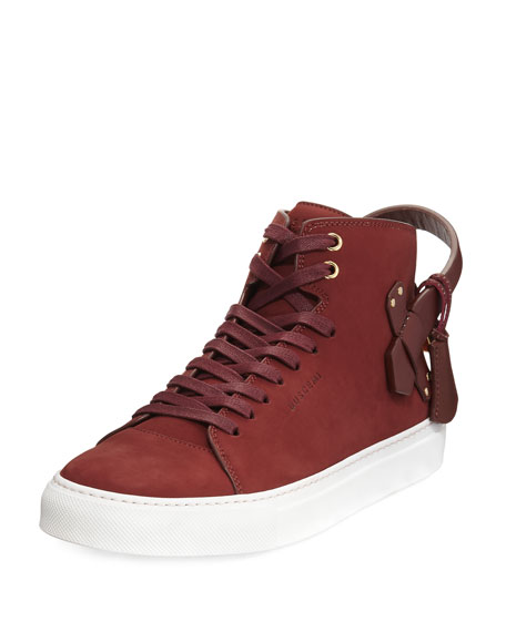 Buscemi Men's 100mm Clean Nubuck Mid-Top Sneakers