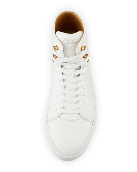 Men's 100mm Link Leather Mid-Top Sneakers