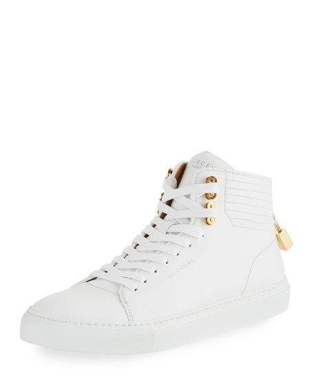 Buscemi Men's 100mm Link Leather Mid-Top Sneakers