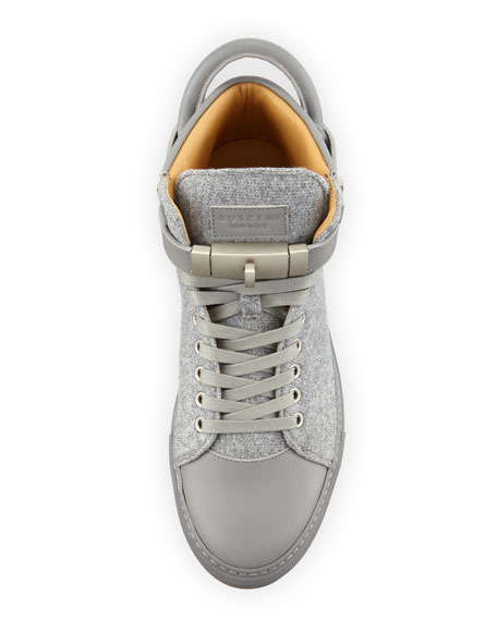Men's 100mm Wool Mid-Top Sneakers, Medium Gray