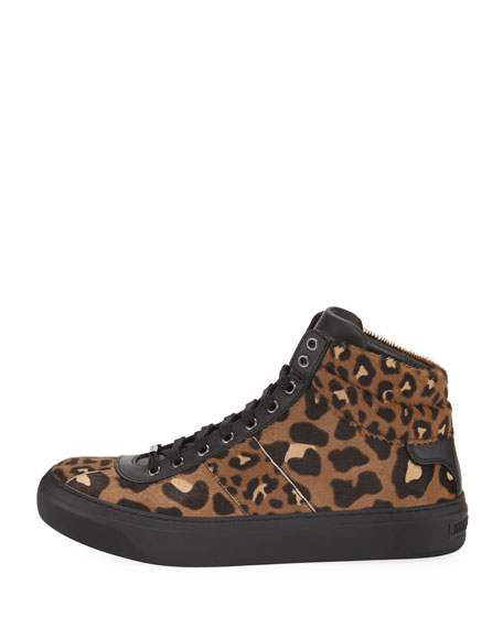 Leopard-Print Calf Hair High-Top Sneaker
