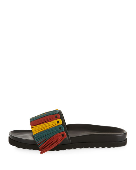 Multicolor Fringe Leather Slide Sandal
