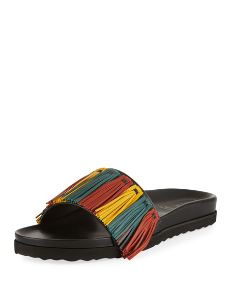Buscemi Multicolor Fringe Leather Slide Sandal