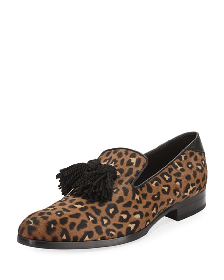 Jimmy Choo Foxley Leopard-Print Calf Hair Tassel Loafer