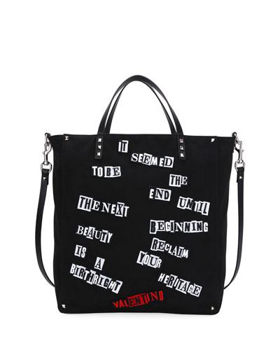 Punk Rockstud Canvas Tote Bag