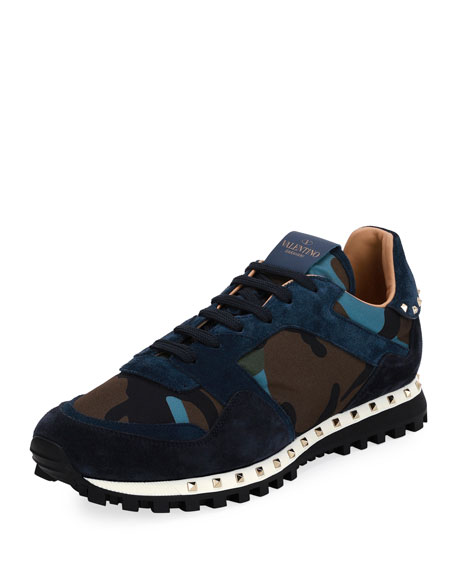 valentino rockrunner camo neoprene suede trainer sneaker grey blue modesens. Black Bedroom Furniture Sets. Home Design Ideas