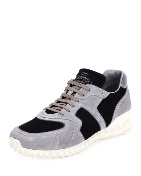 Men's Rockstud Suede & Mesh Trainer Sneakers, Black/Gray