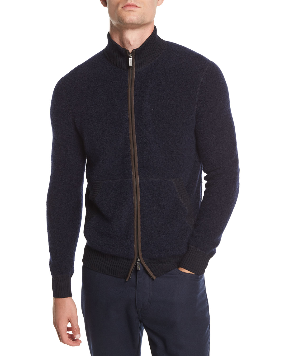 Ermenegildo Zegna Boucle Zip Bomber Sweater with Leather Detail ... ca772595002