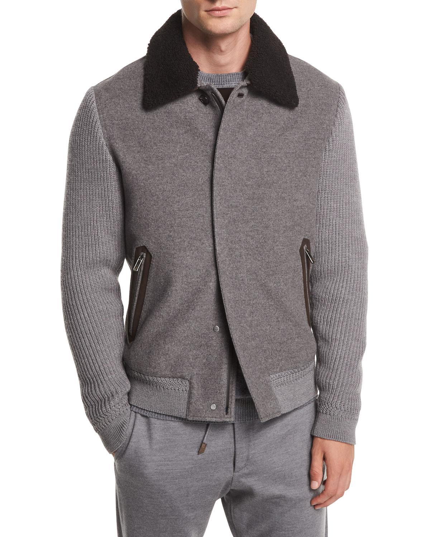 Ermenegildo ZegnaZip-Front Cashmere Wool Bomber Jacket w  Shearling Collar b0d3b360692