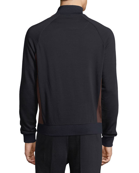 Techmerino Stripe-Sleeve Full-Zip Sweatshirt