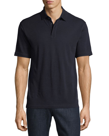 Z Zegna-Techmerino Techmerino Wool Polo Shirt, Dark Blue