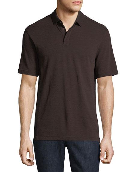 Z Zegna-Techmerino Techmerino Wool Polo Shirt, Dark Red