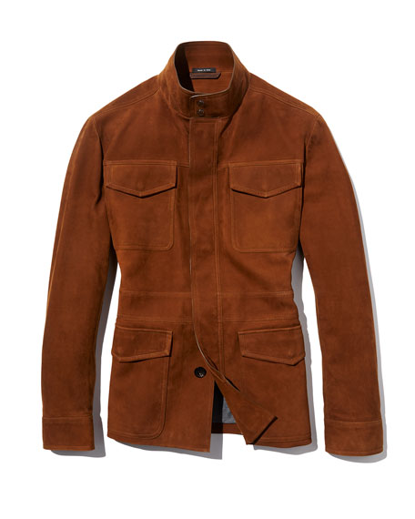 Four-Pocket Suede Safari Jacket