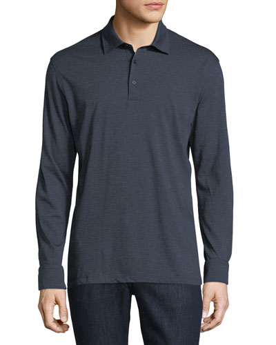 Fine-Stripe Long-Sleeve Polo Shirt