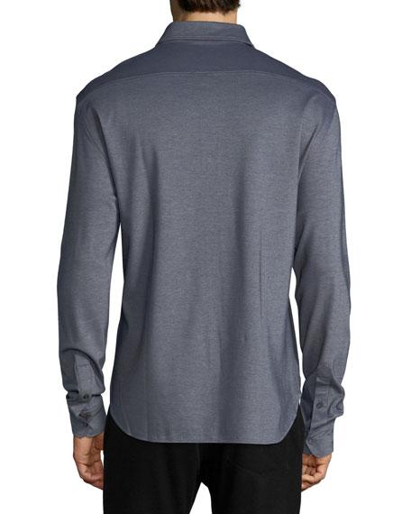 Pique Knit Button-Front Shirt