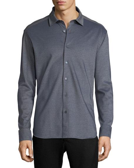 Ermenegildo Zegna Pique Knit Button-Front Shirt