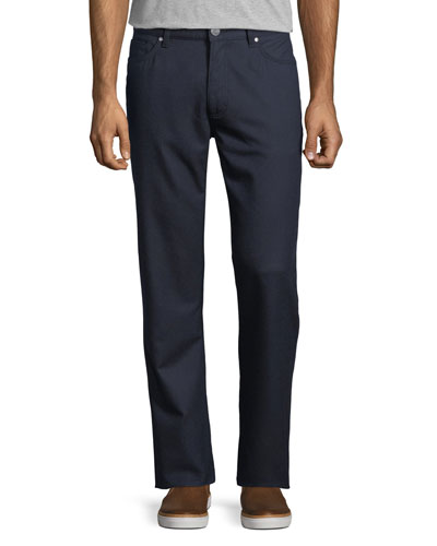 Stretch-Flannel Five-Pocket Pants, Medium Blue