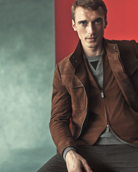 Cashmere & Lambskin Leather Zip-Front Cardigan