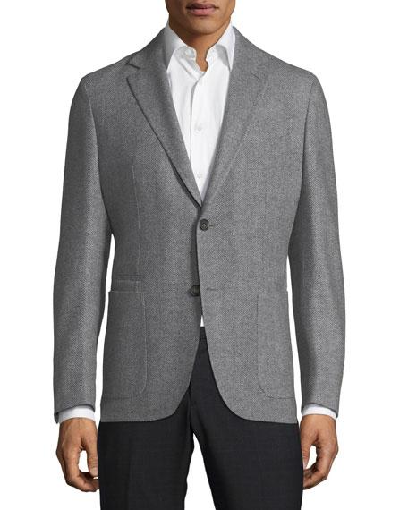 Ermenegildo Zegna Herringbone Wool-Cashmere Sport Coat