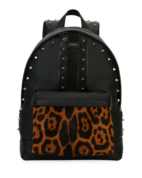 Hingis Studded Leather & Calf Hair Backpack