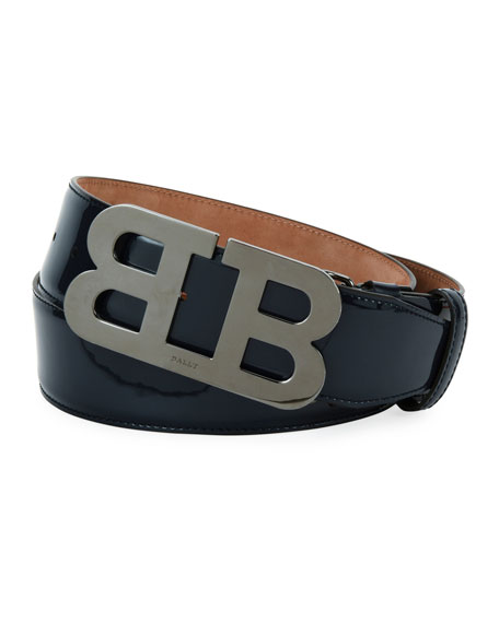 Mirror B Patent Leather Belt, Black
