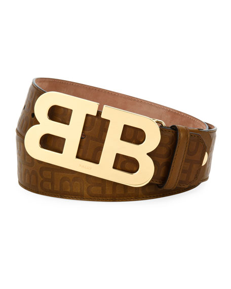 Bally Mirror B Stamped Leather Belt, Brown