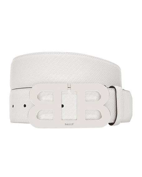 Bally  MIRROR B CARBON LEATHER BELT WITH SILVER BUCKLE
