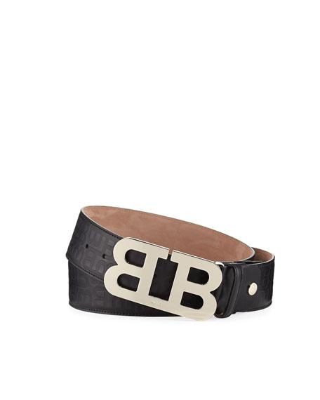 Mirror B Stamped Leather Belt, Black