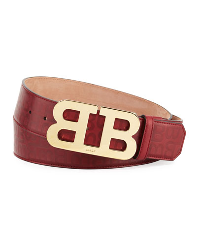 Mirror B Stamped Leather Belt, Red