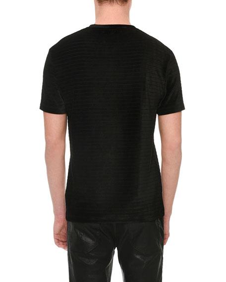 Velvet-Stripe Medusa Crewneck T-Shirt