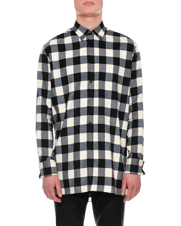 31608300 Versace Buffalo Check Flannel Shirt | Neiman Marcus