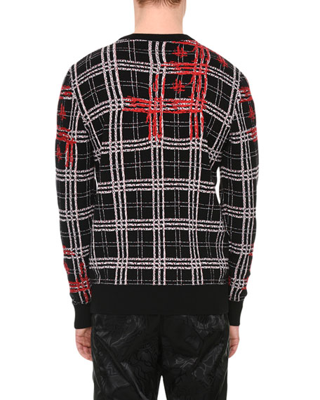 Plaid Medusa-Stitched Wool Sweater