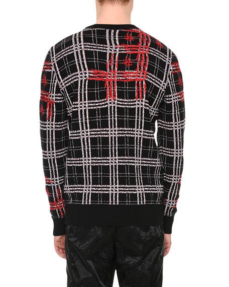 Plaid Medusa-Stitched Wool Sweater