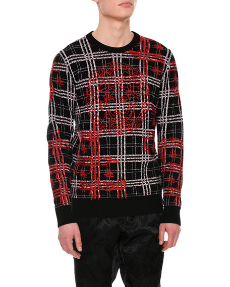 Versace Plaid Medusa-Stitched Wool Sweater
