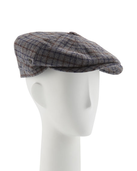 Neiman Marcus Wool Small-Check Jaxon Hat