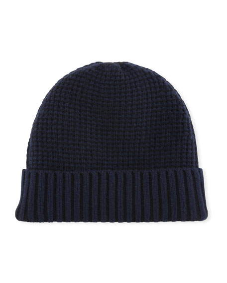 Cashmere Two-Tone Knit Beanie Hat