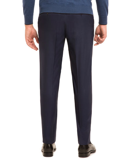 Super 160s Wool Flat-Front Trousers