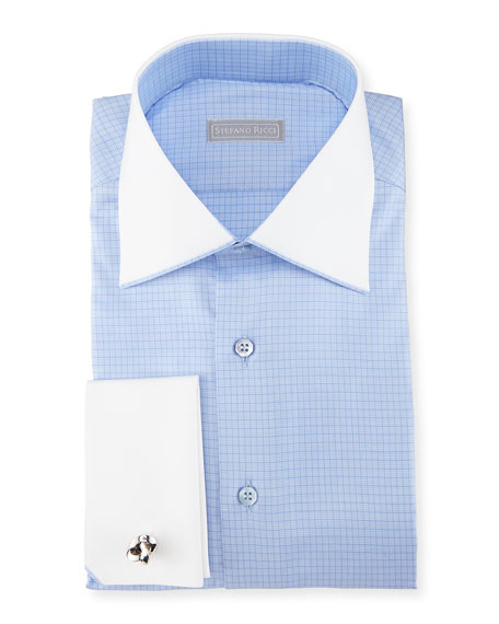 Stefano Ricci Check French-Cuff Dress Shirt