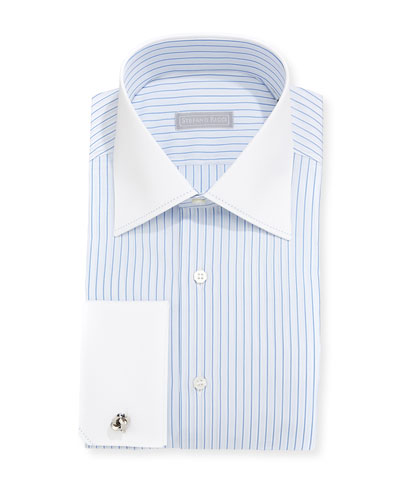 Herringbone Striped Stitch-Trim Dress Shirt